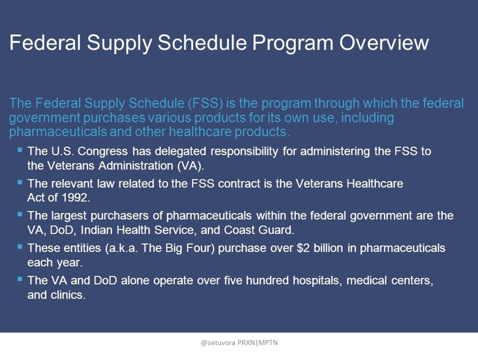 Federal Supply Schedule Program Overview